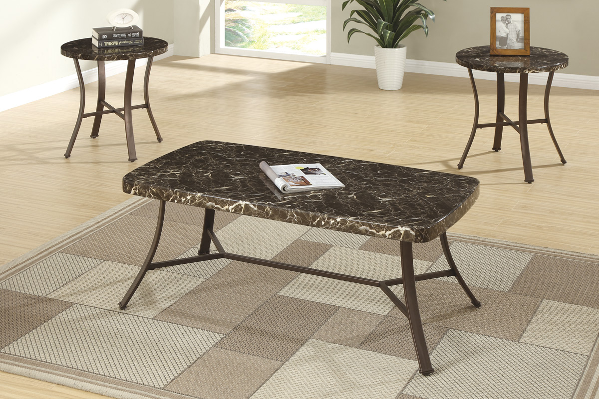 lightbox & 3 PC Tables set w/ faux marble top #3090PX - Casye FurnitureCasye ...