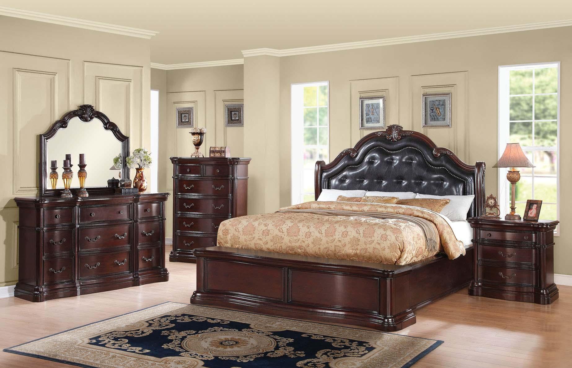 Bedroom Set Veradisia Collection Dark Cherry Finish Black