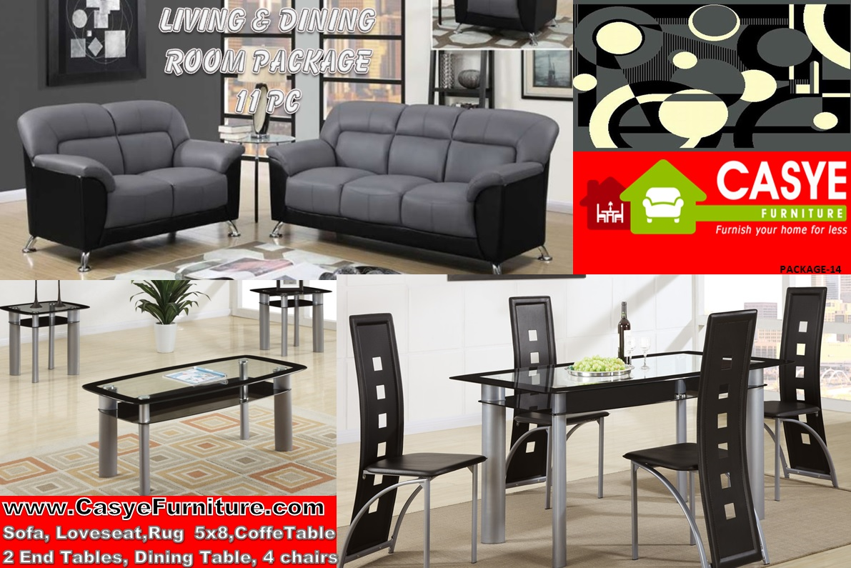 Package home 11pc dining living room complete 14 for Complete living room furniture packages