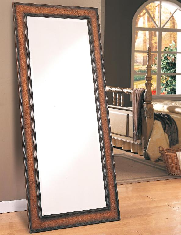 Long floor mirror antique brown finish casye for Long antique mirror