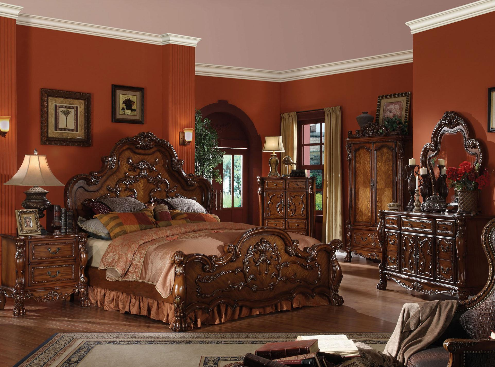 High End Traditional Bedroom Furniture bedroom set dresden collection cherry oak finish - casye