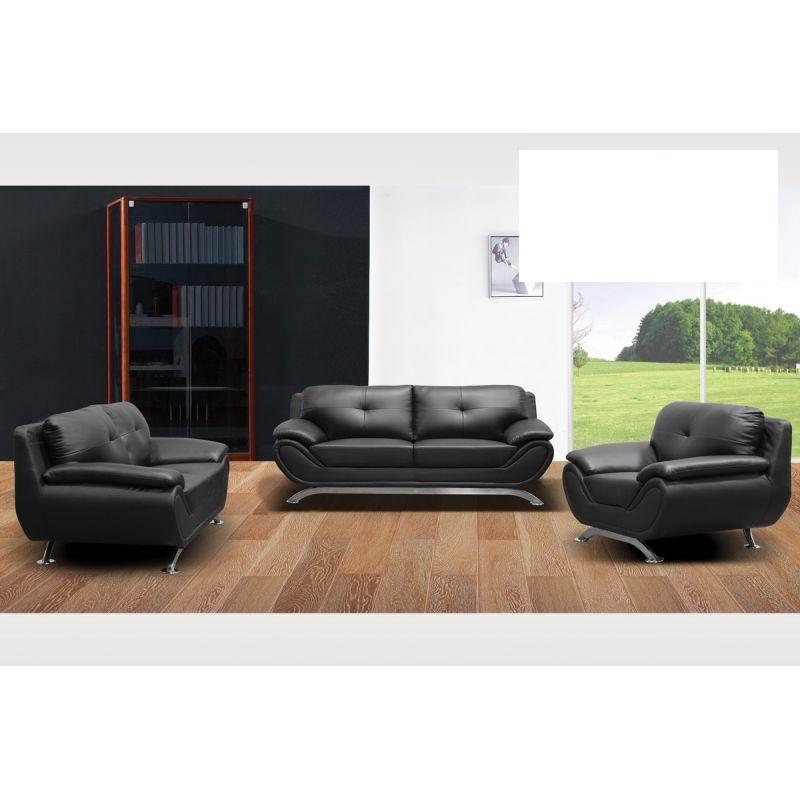 Living Room Set 3pc Sofa Loveseat & Chair Black Color - Casye ...
