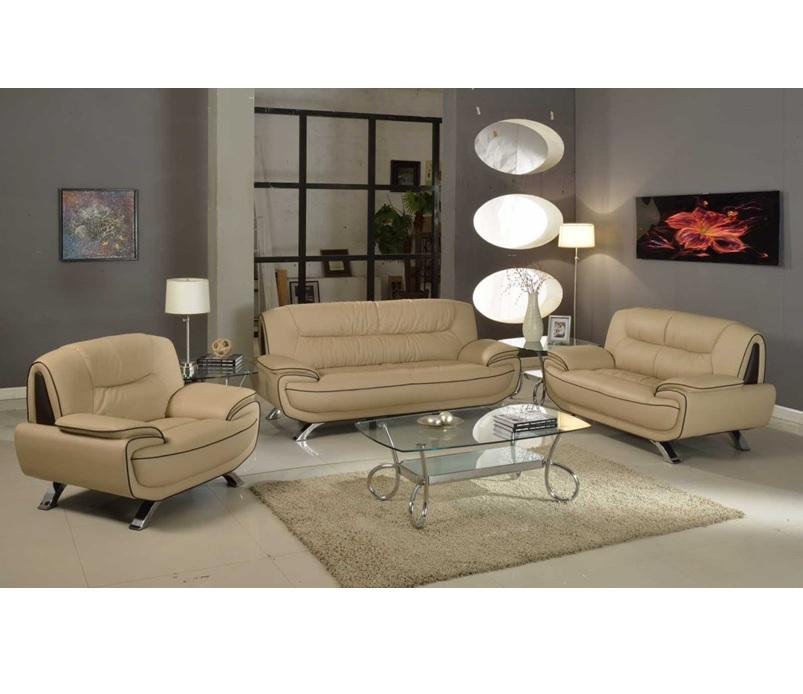 Real Leather Living Room Set: Beige/Brown Genuine Leather Living Room GU405