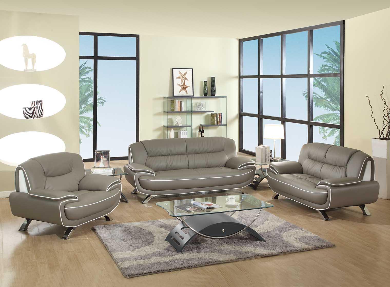 Gray/White Genuine Leather Living Room GU405