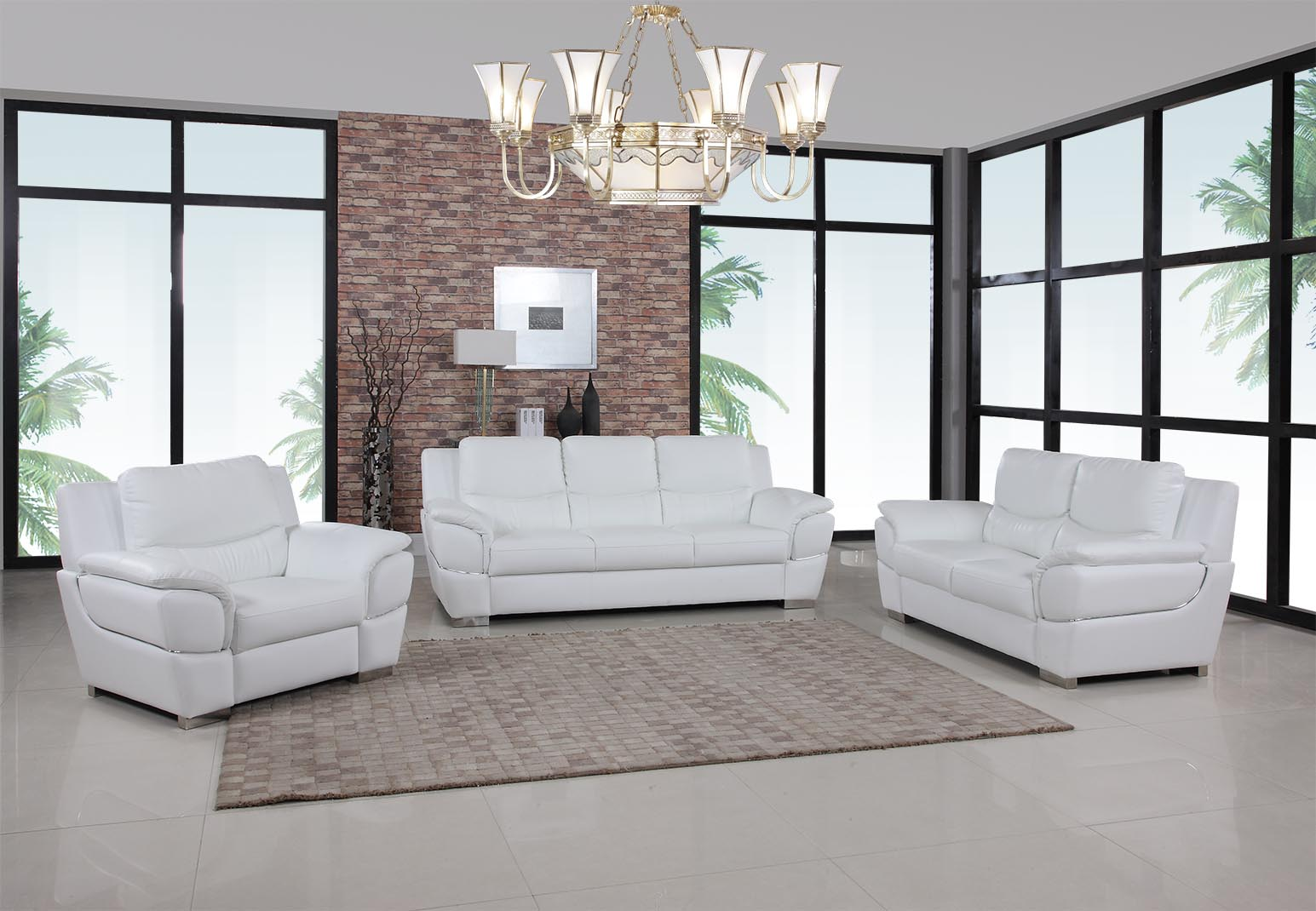 White Leather Living Room GU4572 - Casye FurnitureCasye Furniture