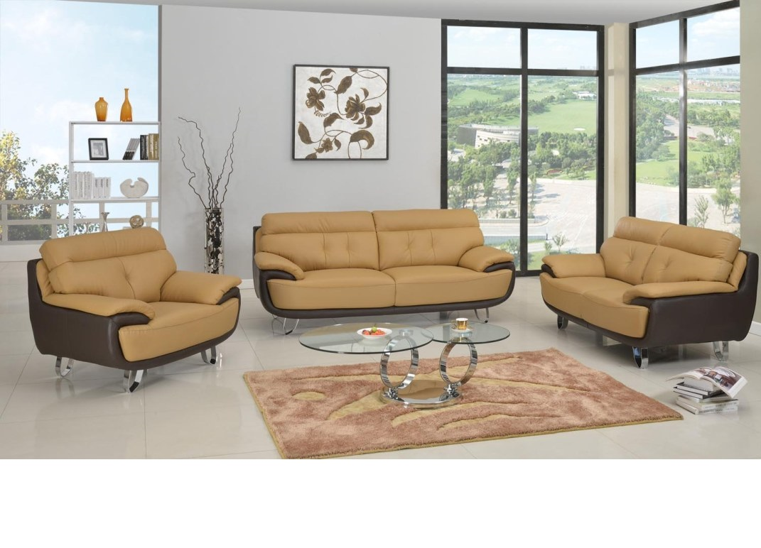Two Tone Brown Tan Genuine Leather Living Room Gua159