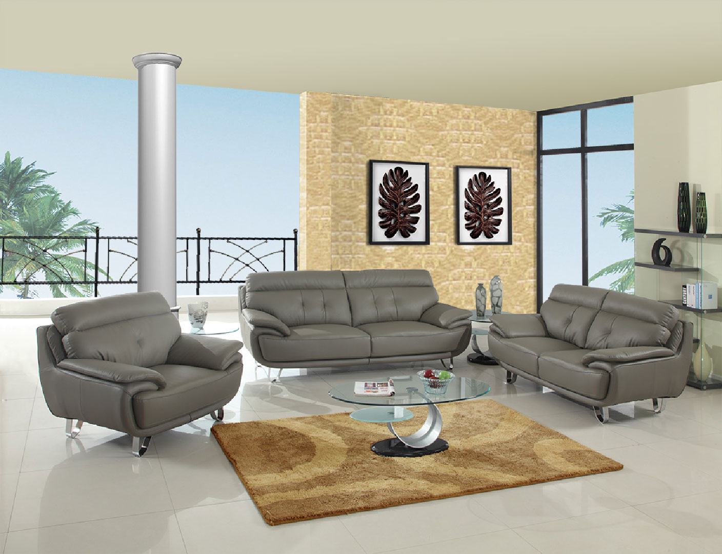 Gray Genuine Leather Living Room GUA159