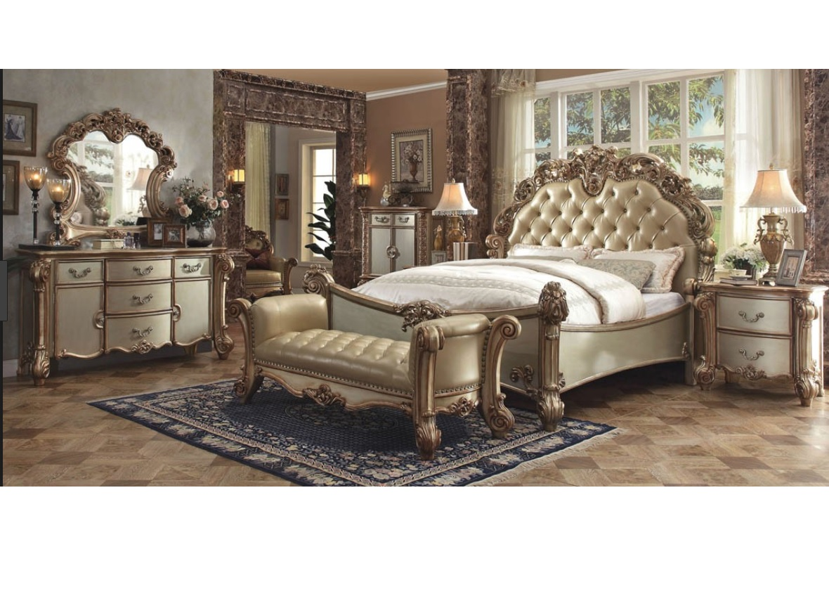 Vendome Collection Bedroom Set Gold Patina Finish Casye