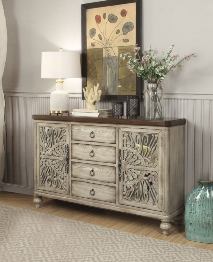 lightbox - Vermont Antiqued White Finish Console Table 60