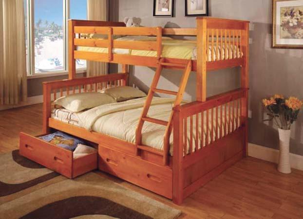 bunk bed twin full solid wood oak color 838oak ad casye furniturecasye furniture. Black Bedroom Furniture Sets. Home Design Ideas