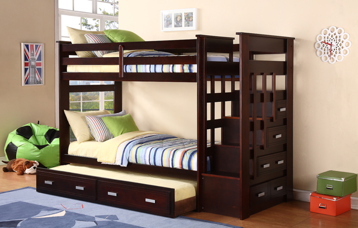 Twin Twin Ladder Bunk Bed W Trundle Amp Storage Side Drawers