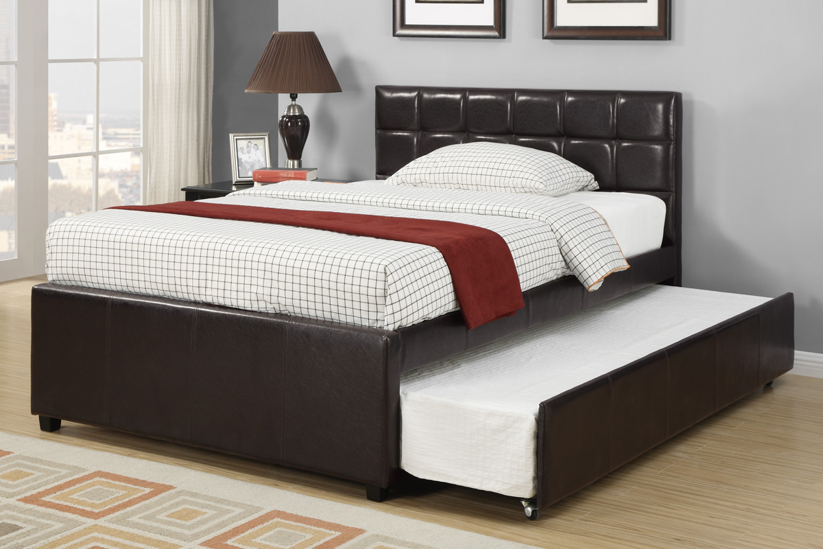 Twin Or Full Platform Bed With Twin Trundle Espresso Finish F9215