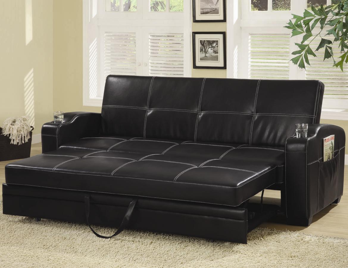 Sofa Bed with Storage and Cup Holders 300132