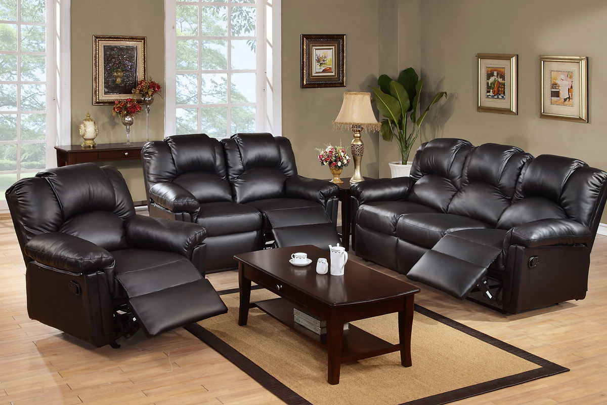 Set W Recliners Black Bonded Leather