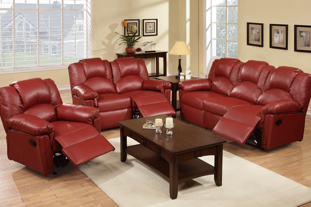 Living Set W/Recliners, Burgundy Bonded Leather F6677