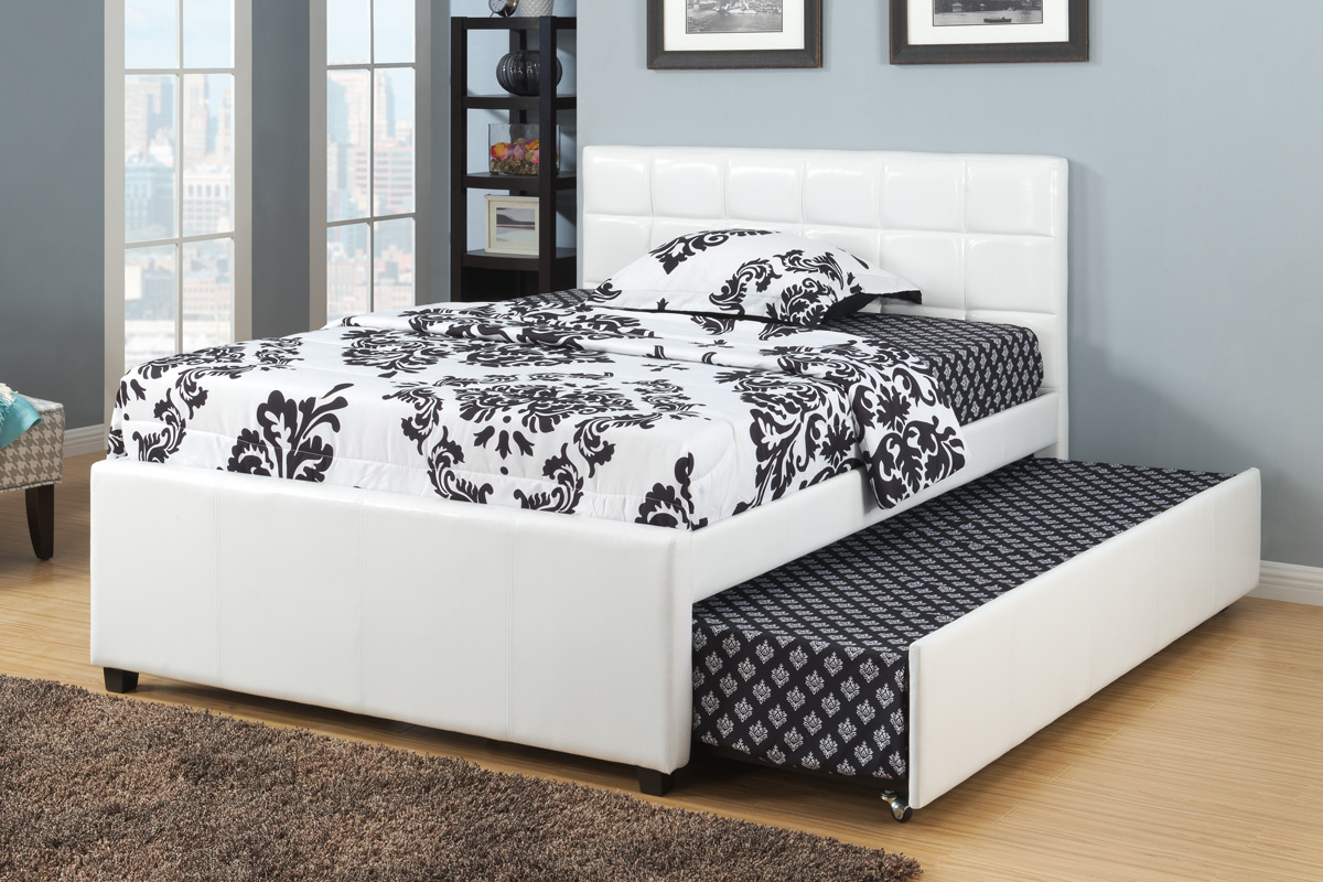 Twin or Full Platform Bed with Twin Trundle Bed, White Finish