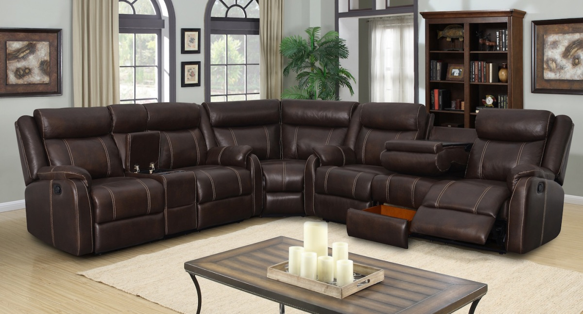 Sectional 3pc Rummy Collection Mocha color 7303UI - Casye ...