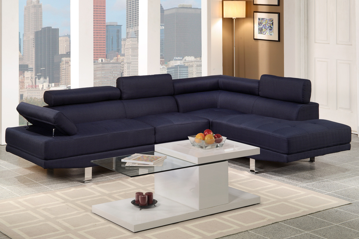 2 Pc Sectional Sofa, Set Dark Blue Fabric F7569