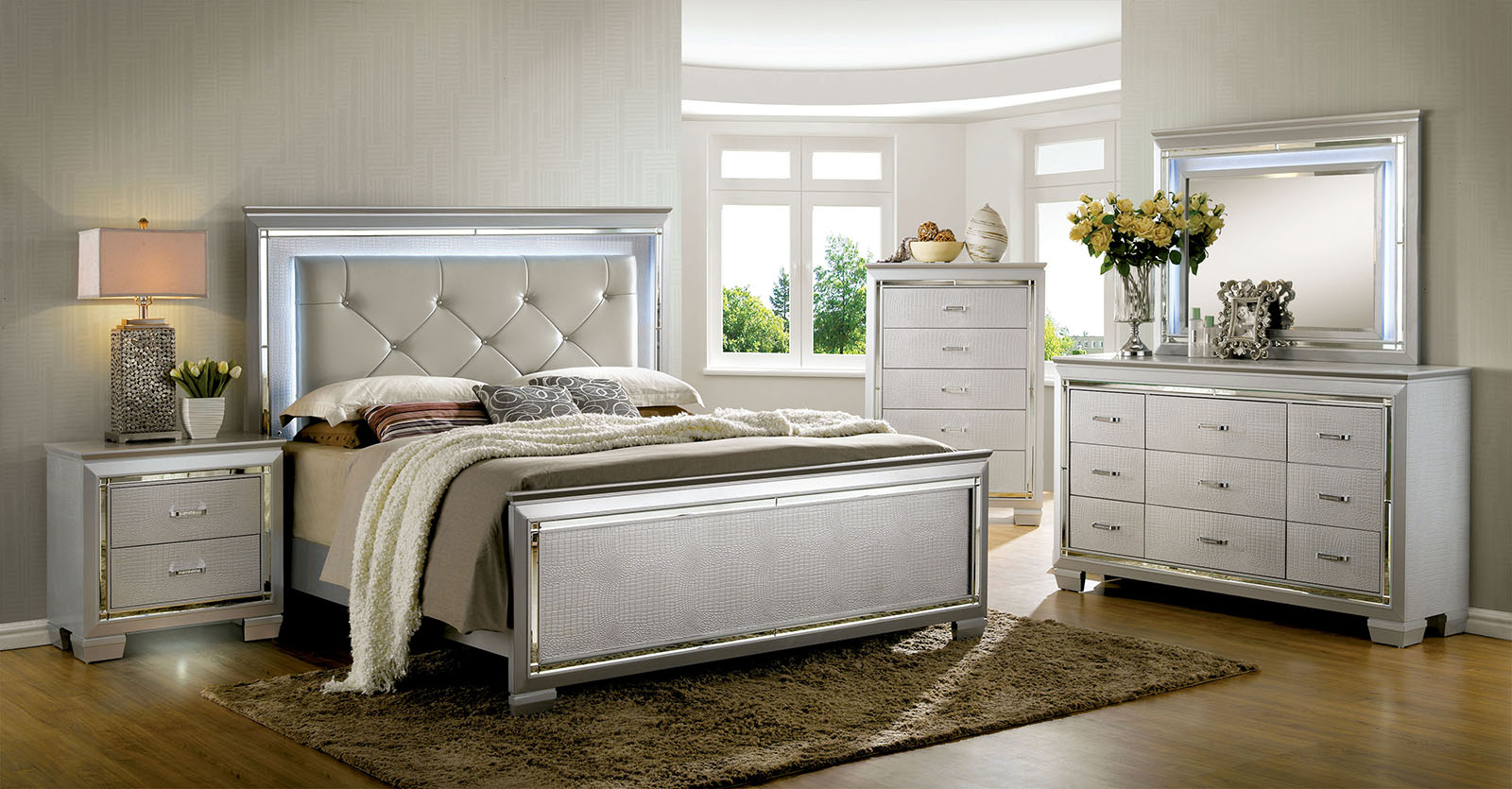 Lillian Silver Collection Bedroom Set B7100 Casye Furniture