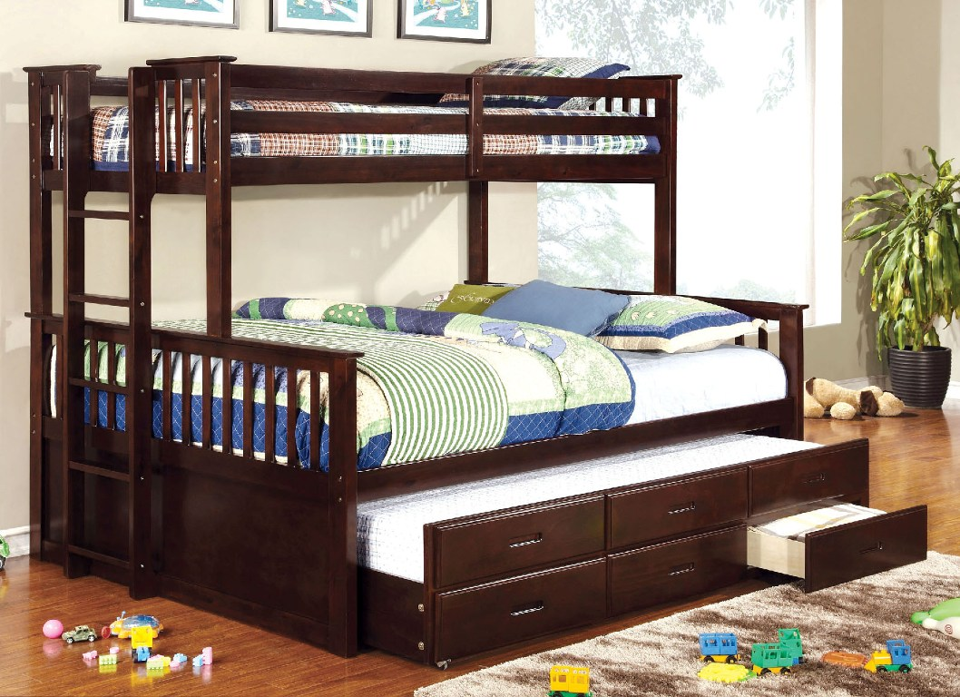University Twin Xl Over Queen Solid Wood Bunk Bed Walnut