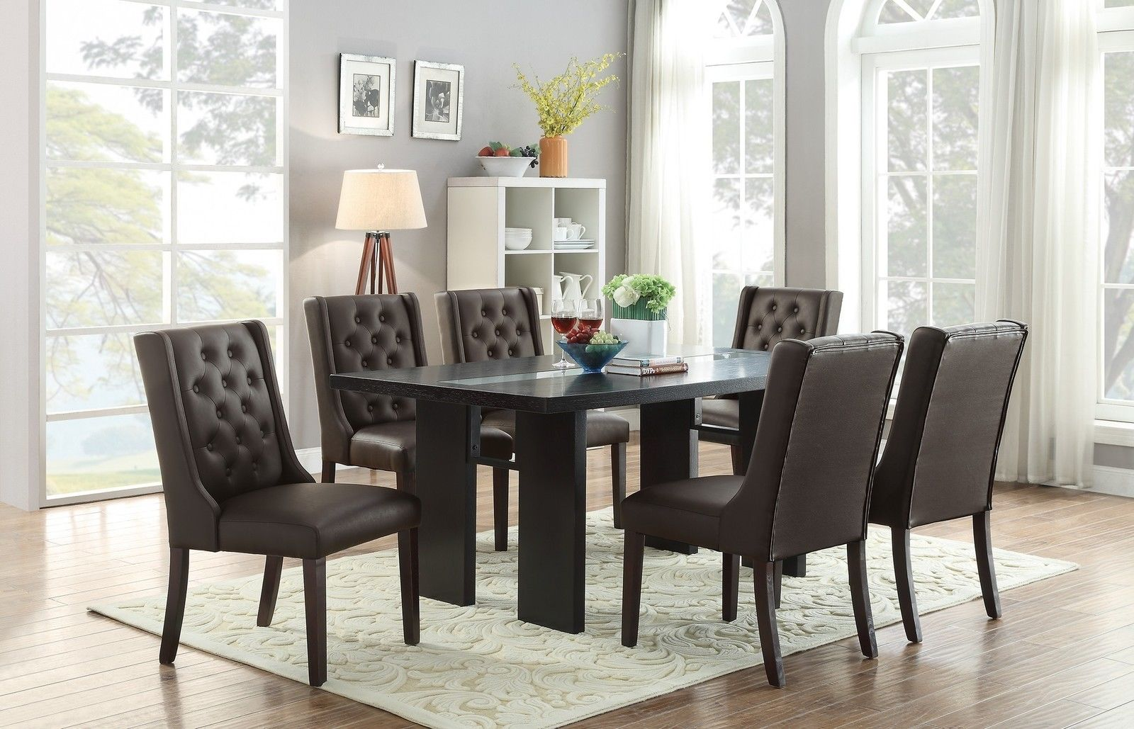 7pc Espresso Or White Parson Style Soft Cushion Chair Dark Brown Table Dining Set