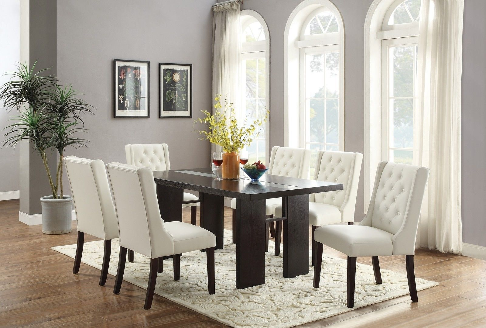 Astonishing 7Pc Espresso Or White Parson Style Soft Cushion Chair Dark Brown Table Dining Set Caraccident5 Cool Chair Designs And Ideas Caraccident5Info