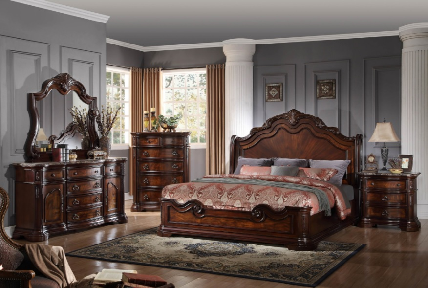Barney\'s Traditional Walnut with Marble Top Bedroom set