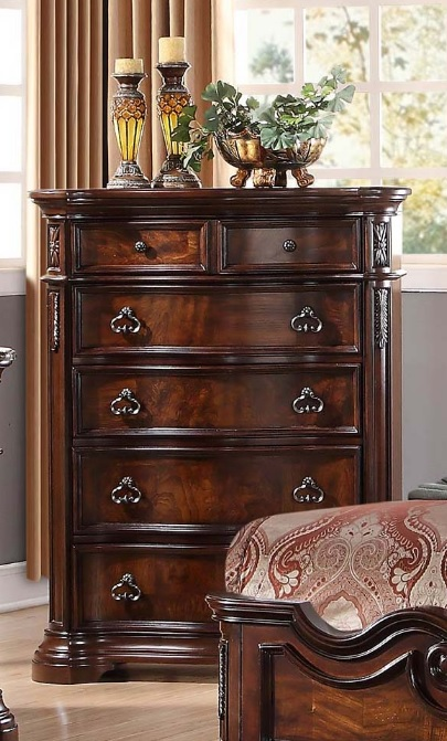 Barney S Traditional Walnut With Marble Top Bedroom Set