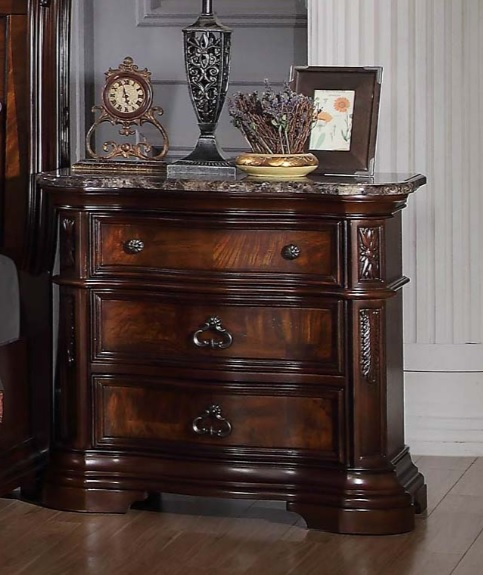Barney's Traditional Walnut With Marble Top Bedroom Set