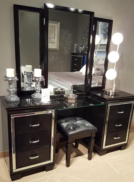 allura collection vanity with mirror stool black finish 1916bk