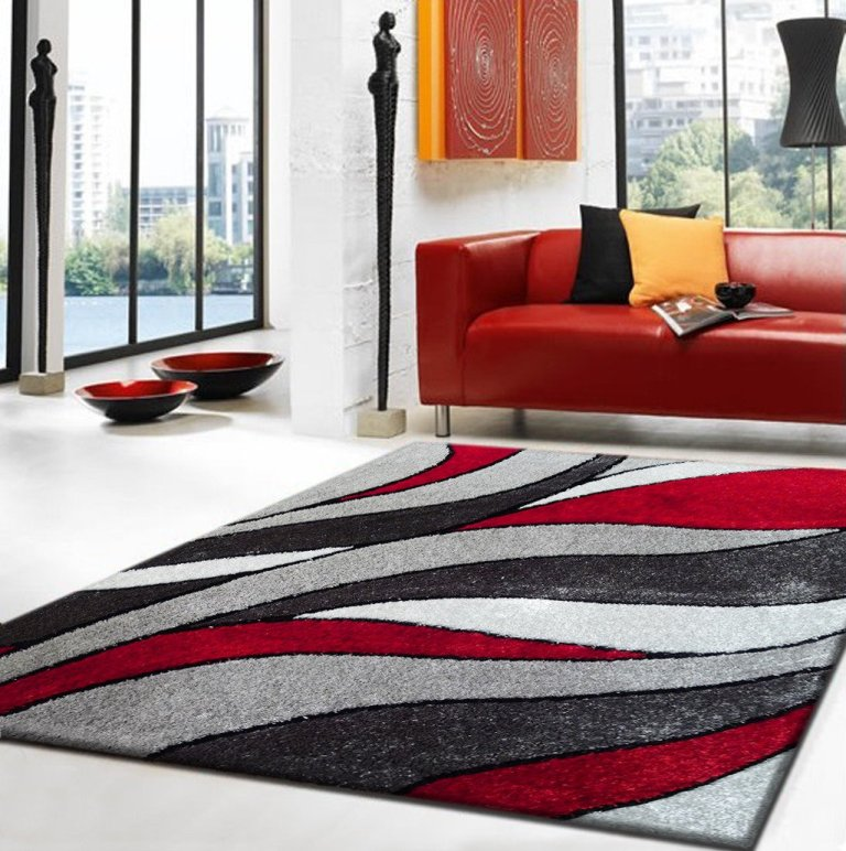 Lola Collection Shaggy Rug Grey Red