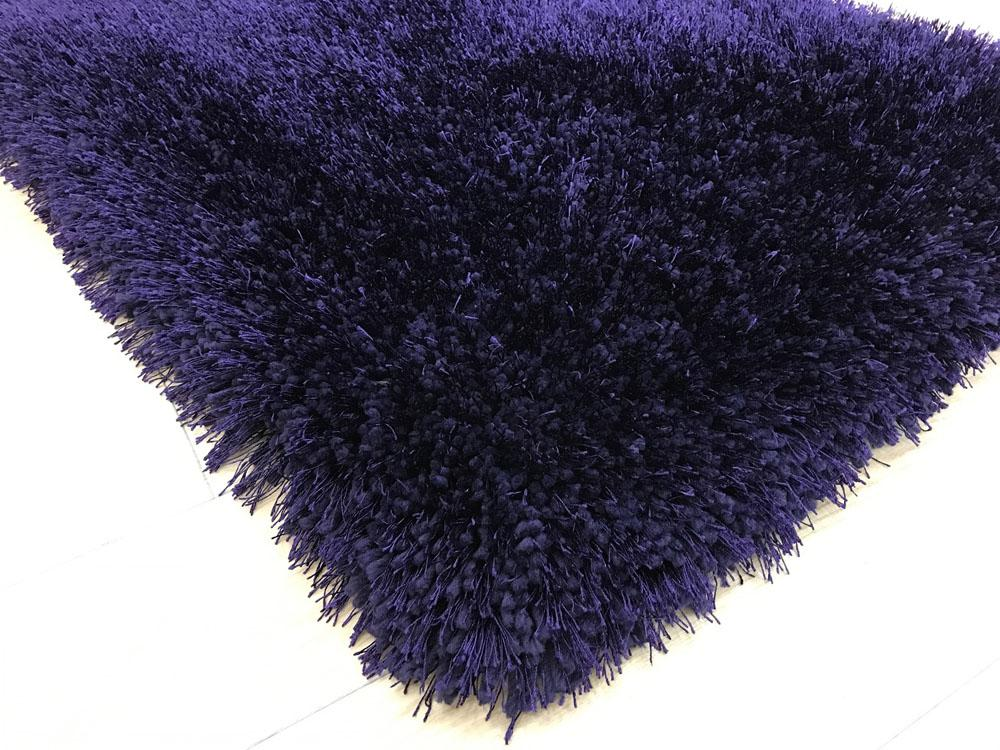 Shaggy Viscose Rug Solid Purple Casye Furniture