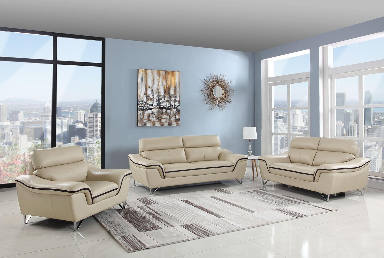 - Beige Genuine Leather Living Room GU168 - Casye Furniture
