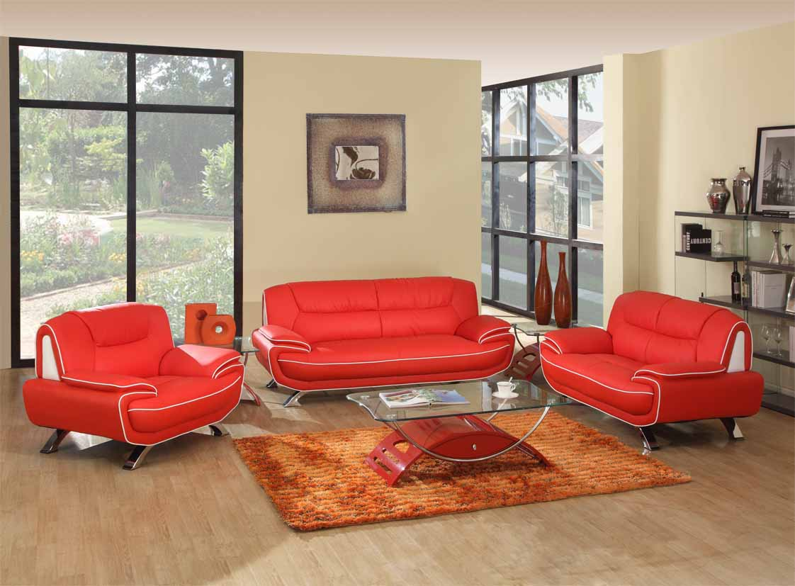 Red White Genuine Leather Living Room GU405