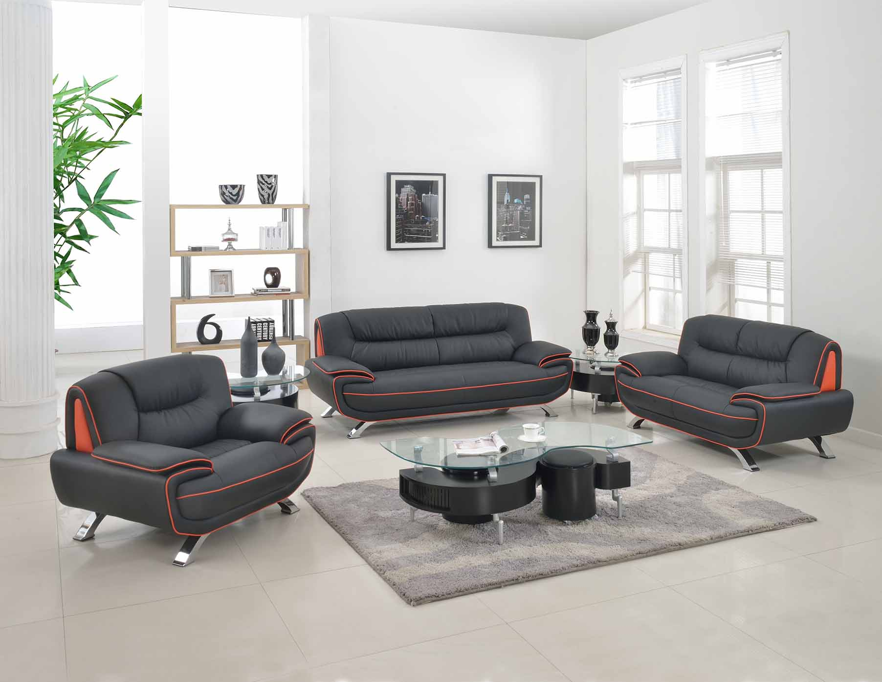 Black Red Genuine Leather Living Room GU405