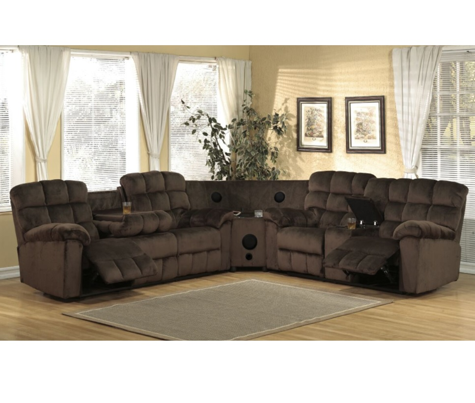 Fabulous Java Collection Sectional With Bluetooth Speakers Chocolate Color Customarchery Wood Chair Design Ideas Customarcherynet