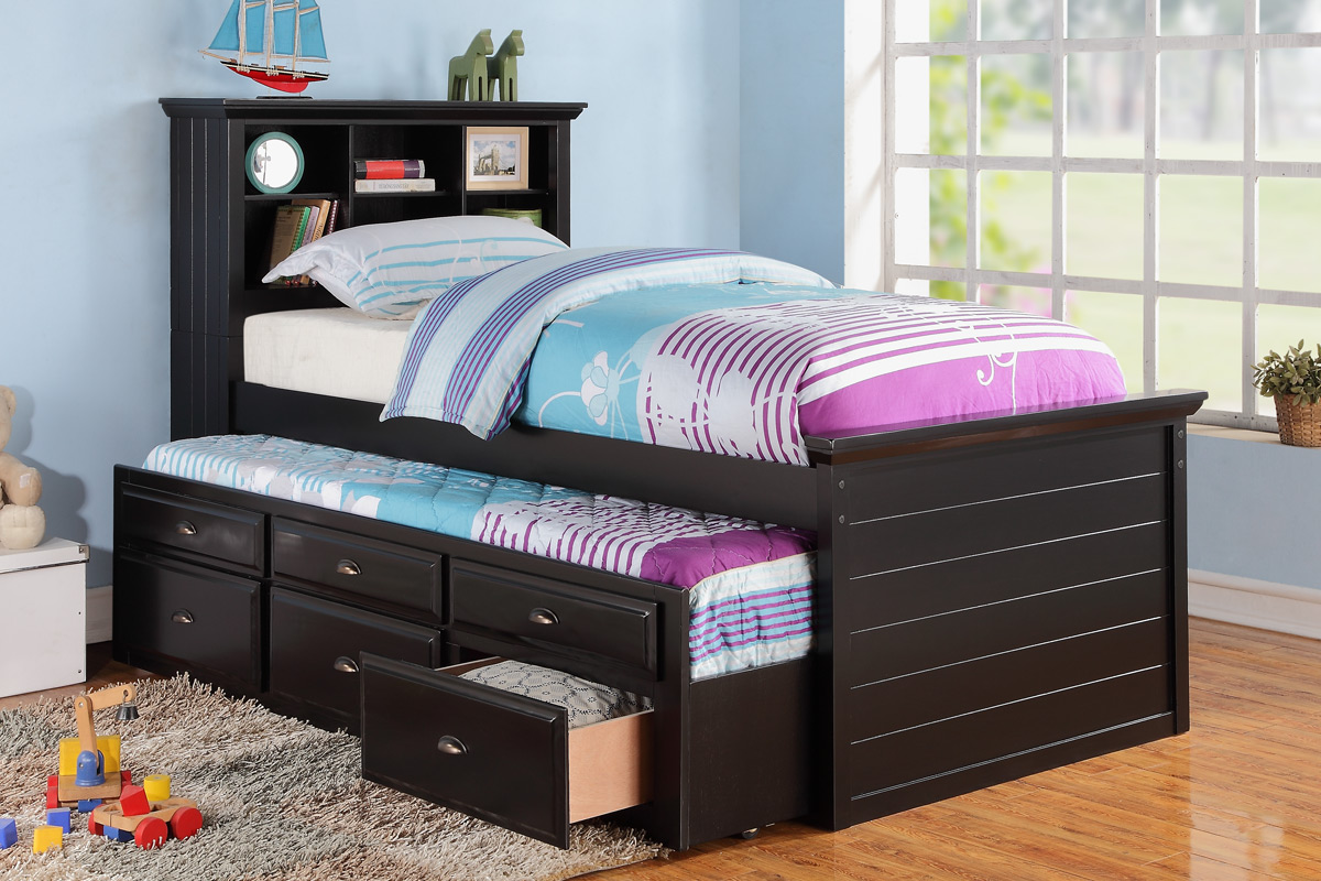 Black wood bookcase kids twin bed storage trundle drawer f9219