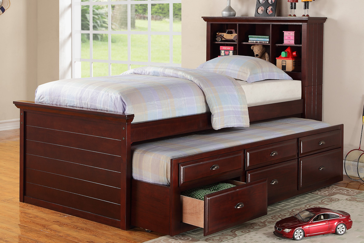 Dark Cherry Kids Bookcase Twin Bed Storage Trundle Drawer F9220