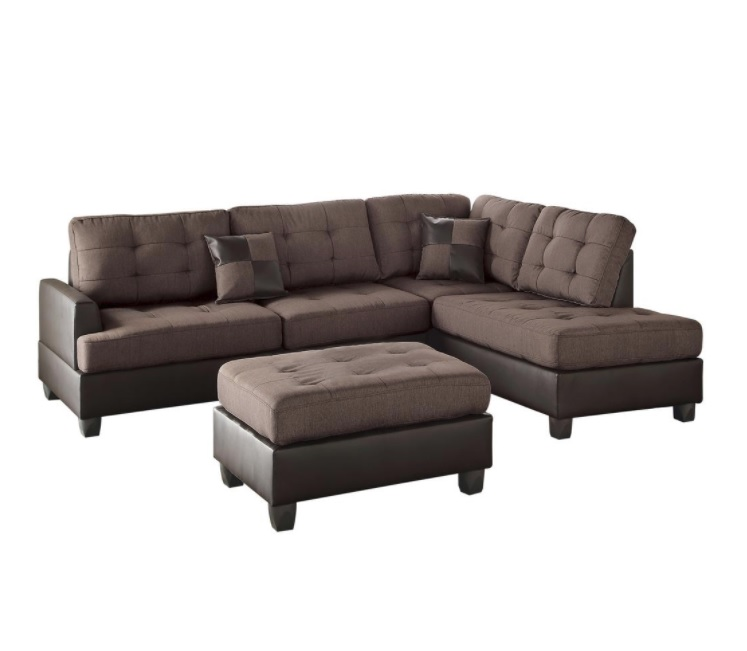 3-Piece Sectional Sofa With Ottoman, Chocolate Finish