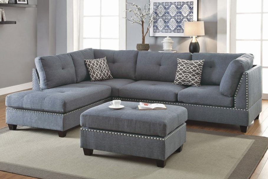 3-Piece Sectional Sofa with Ottoman, Blue Grey Color F6975