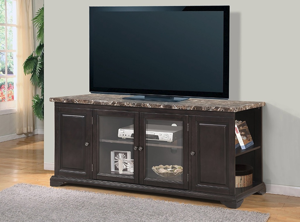 Brown Solid Wood Tv Stand 62 Quot Faux Marble Top Tv255