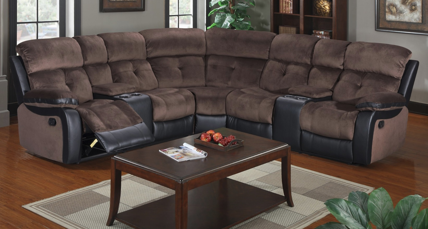 Chocolate Microfiber Sectional w/ Cup Holders & 2 Recliners
