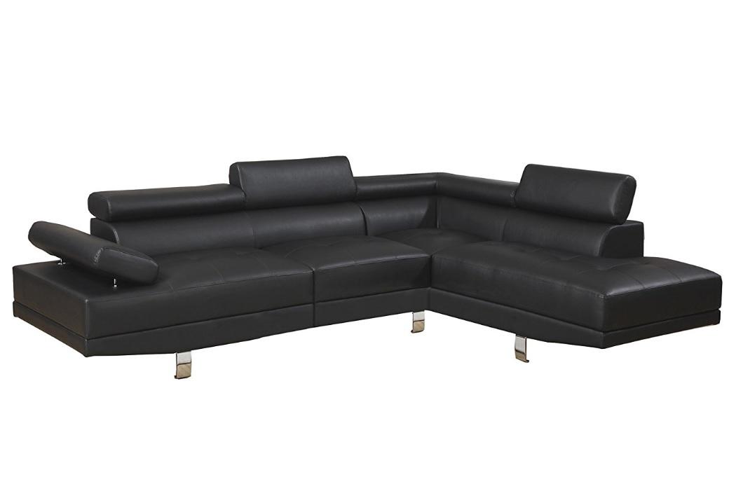2pc Sectional Sofa, Set Black Color F7310
