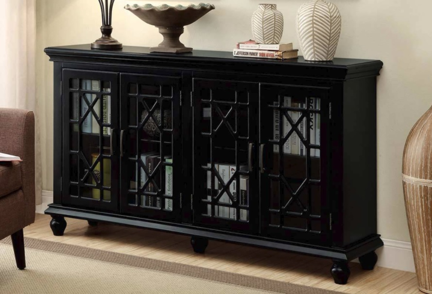 Black Transitional 4 Door Glass Accent Cabinet 950639co