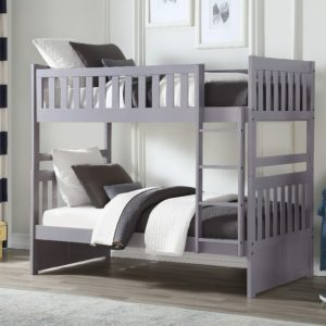 Allentown Twin Twin Bunk Bed W Storage Staircase Trundle Gray Finish 37870ac Casye Furniture