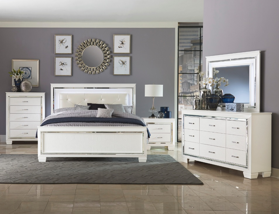 Allura Collection Bedroom Set White Finish 1916he Casye