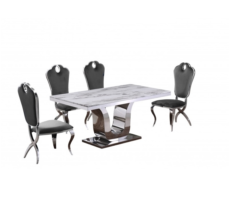 Marble Top Dining Table And Velvet Fabric Chair 4 Colors