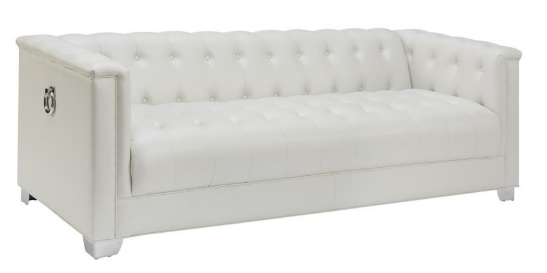 Chaviano Sofa In White Leatherette 505391 By Coaster W Options: Chaviano Pearl White Tufted Living Room 505391