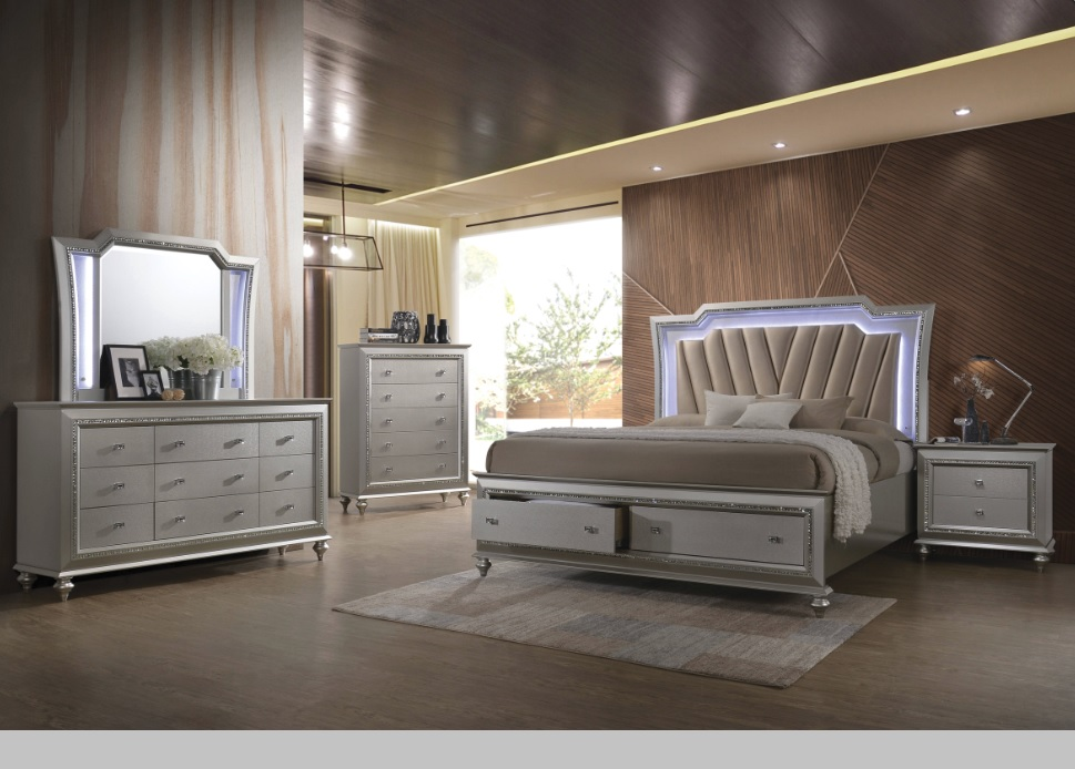 Kaitlyn Bedroom Set With Led Headboard In Pu And Champagne