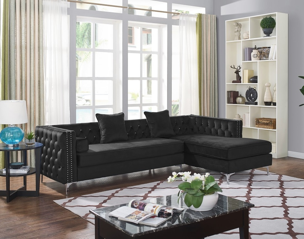 Divano Collection Glam Black Velvet Fabric Sofa Sectional w/Button Tufting  and Nailhead Trim D6165